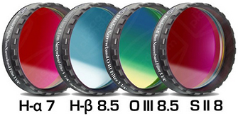 Jeu de 4 filtres pour CCD Full Frame Narrowband H alpha/ H beta/OIII/SII filetage 31.75 mm